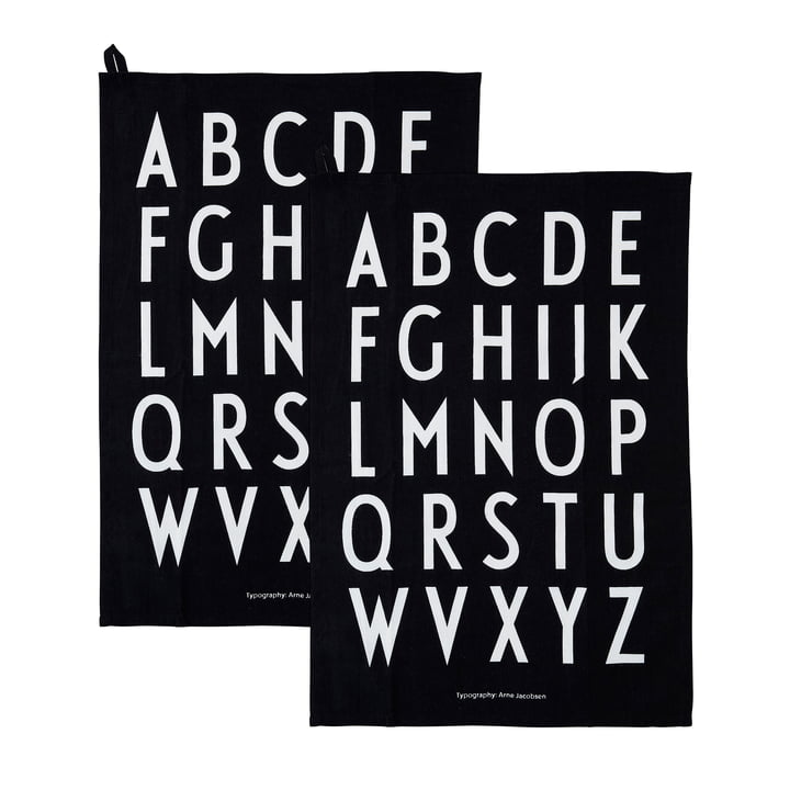 Classic Geschirrtuch in schwarz (2er-Set) von Design Letters