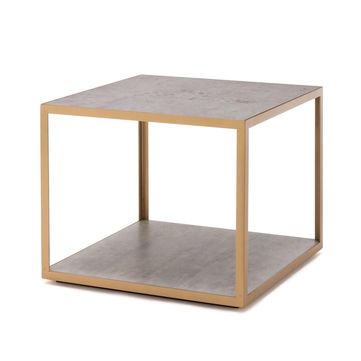 181 Beistelltisch 50 x 50 cm von freistil in Keramik beton / Stahl perlgold (RAL 1036)