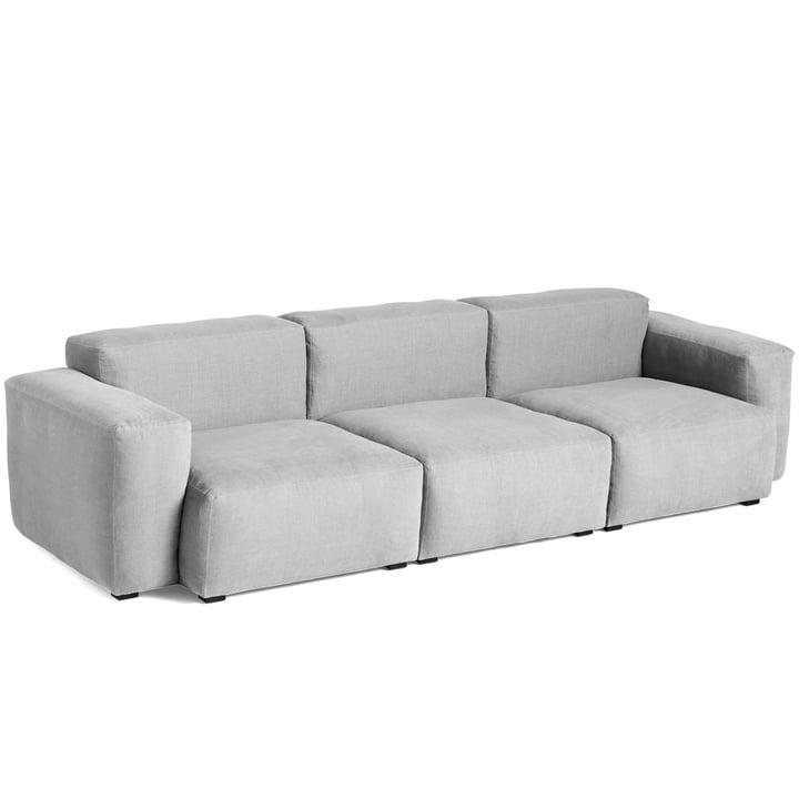 Mags Soft Sofa 3-Sitzer Kombination 1 Armlehne niedrig von Hay in hellgrau (Linara 443) / Nähte: Tone-on-tone