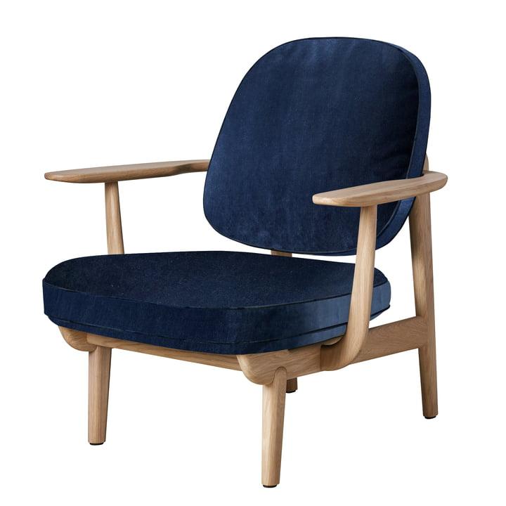 Lounge Chair JH97 von Fritz Hansen in Eiche klar lackiert / Samt dunkelblau (Harald 3 / 0812)