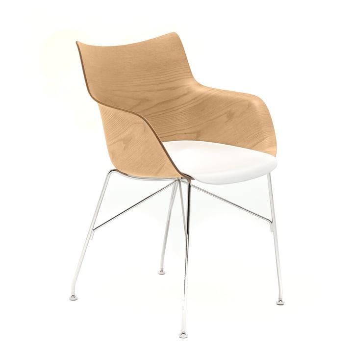 Q/Wood Armlehnstuhl von Kartell in verchromt / weiß / hell
