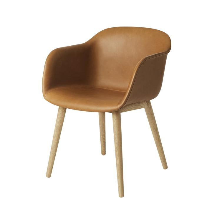 Fiber Chair Wood Base von Muuto in Eiche / Silk Leder Cognac