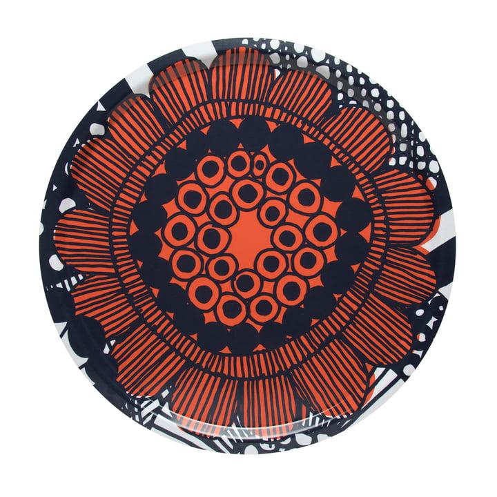Siirtolapuutarha Tablett Ø 46 cm von Marimekko in orange / schwarz / weiß