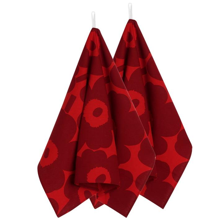 Unikko Geschirrtuch 2er-Set von Marimekko in rot / dunkelrot