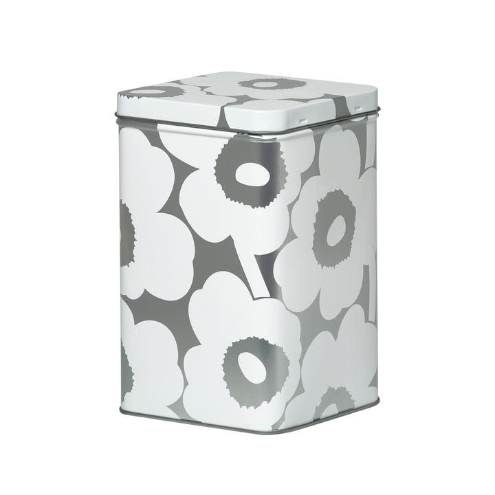 Unikko Aufbewahrungsdose H 17,5 cm von Marimekko in weiß / grau