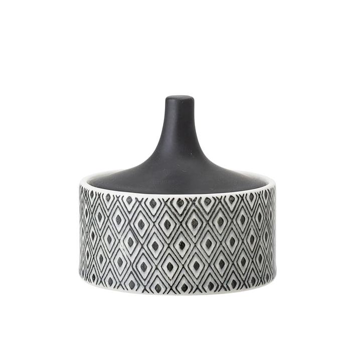 Steingut-Gefäß mit Deckel Ø 10 x H 9 cm von Bloomingville in schwarz / weiß