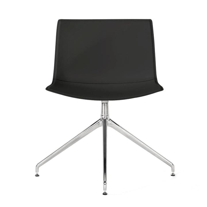 Catifa 53 Stuhl Drehfußgestell von Arper in verchromt / Bezug Kernleder schwarz (glatt)