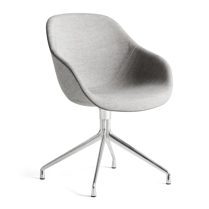 About A Chair AAC 121, Aluminium poliert / Remix 133 grau von Hay