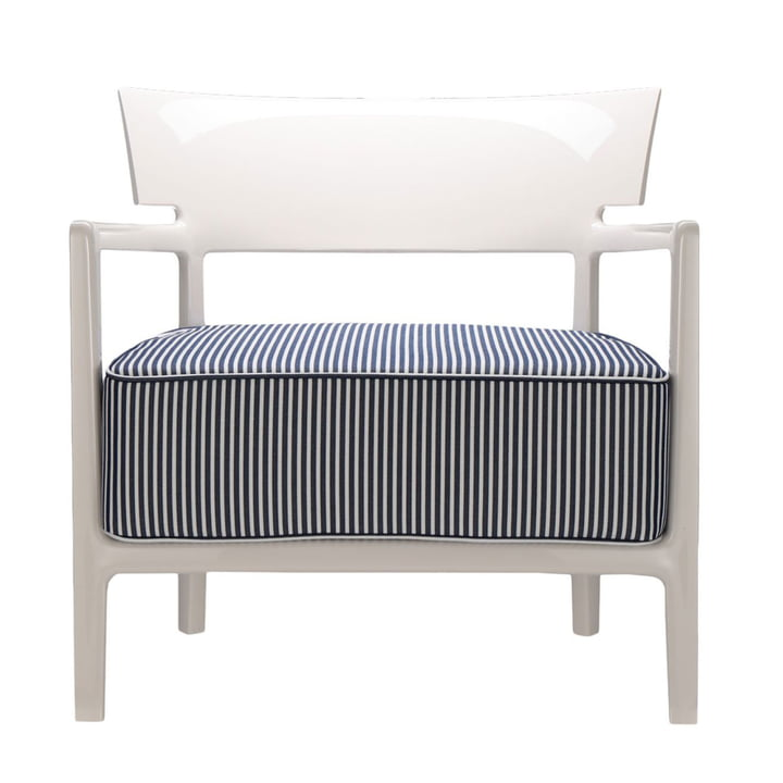 Cara Outdoor Sessel von Kartell mit Gestell elfenbein / Bezug blau-weiß