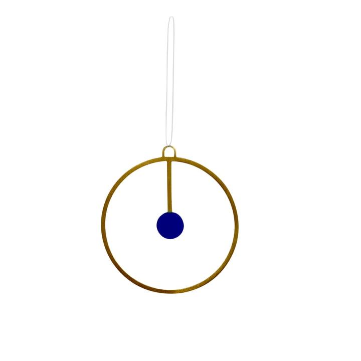 Weihnachtsschmuck-Anhänger Joulu Ø 7,5 cm in Messing / blau von OYOY