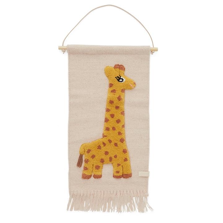 Kinder-Wandteppich mit Tiermotiv, Giraffe / rose von OYOY