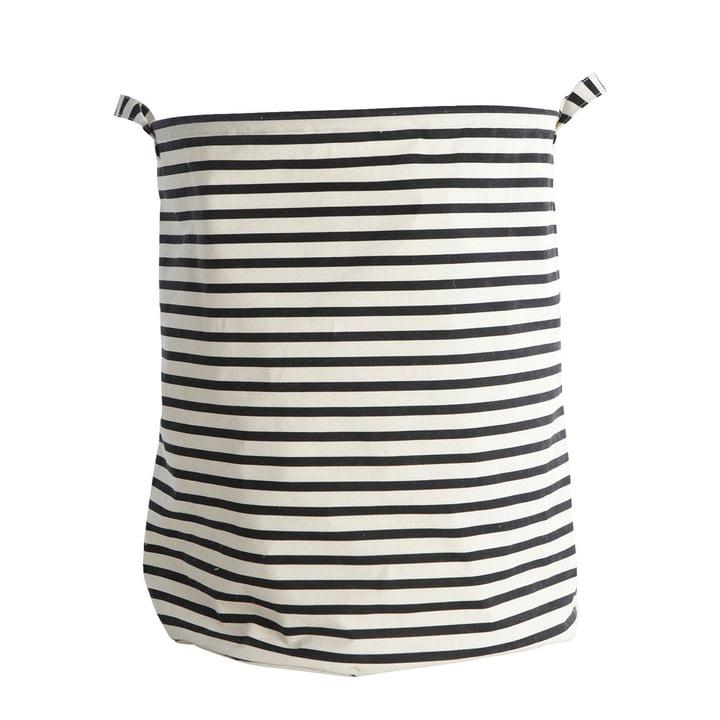 Wäschekorb Stripes Ø 40 x H 50 cm von House Doctor in schwarz / weiß