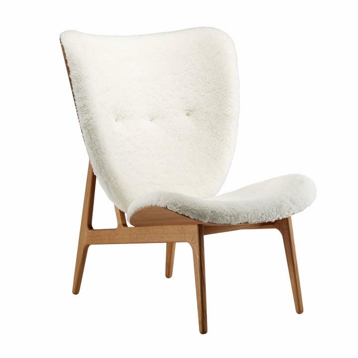 Elephant Lounge Sessel von Norr11 in Eiche geräuchert / Schaffell off-white