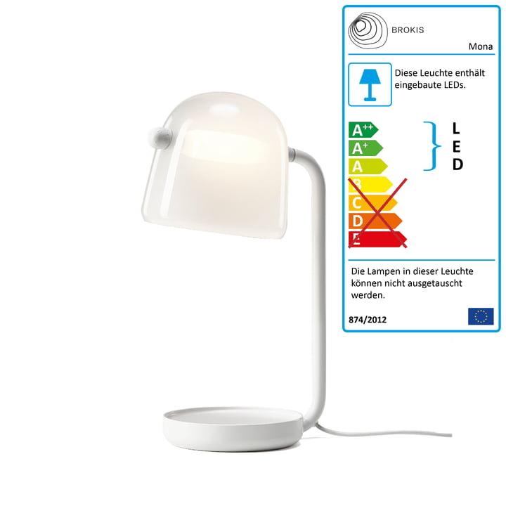 Mona LED Tischleuchte von Brokis in Glas opal / Gestell weiß / Textilkabel weiß