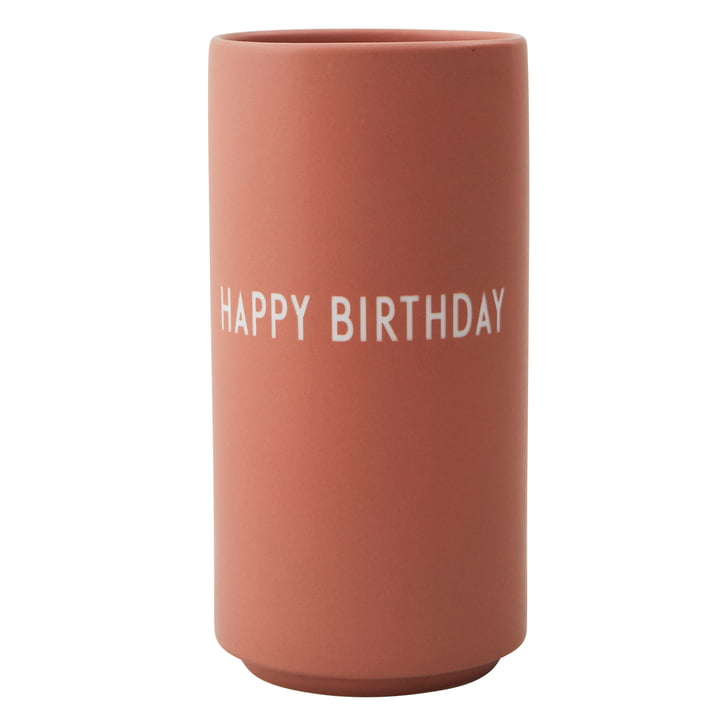 AJ Favourite Porzellan Vase Happy Birthday von Design Letters in nude