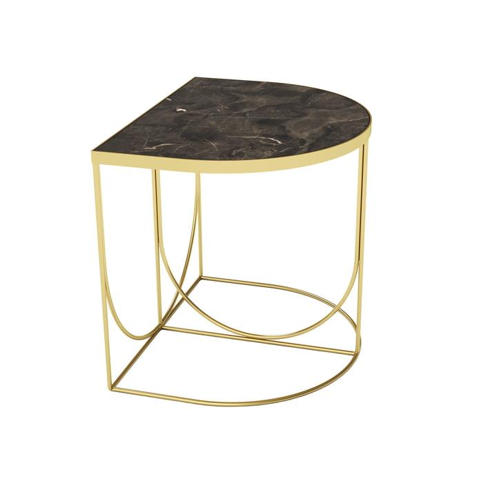 Sino Beistelltisch 40 x 50 cm von AYTM in gold / Marmor braun