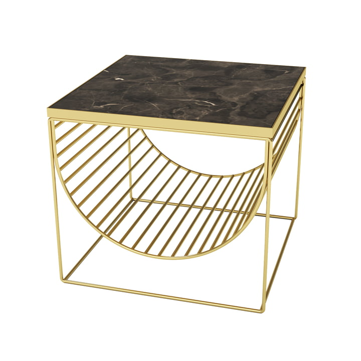 Sino Tisch / Magazinhalter von AYTM in gold / Marmor braun