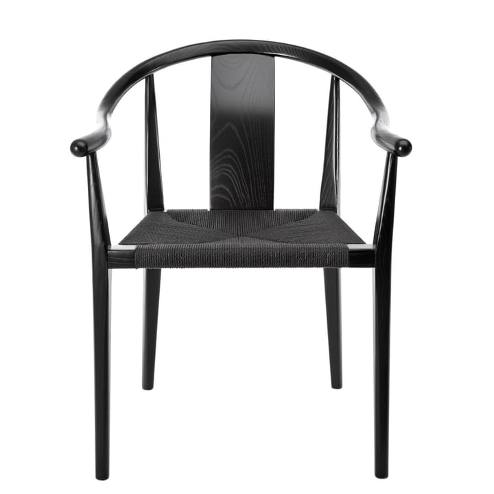Shanghai Armlehnstuhl, Papiergarn schwarz / Esche schwarz von Norr11