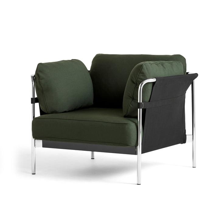 Can 2.0 Sessel von Hay in Chrom / Canvas schwarz / Steelcut 975 dunkelgrün