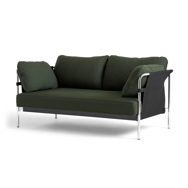 Can 2.0 Sofa 2-Sitzer von Hay in Chrom / Canvas schwarz / Steelcut 975 dunkelgrün