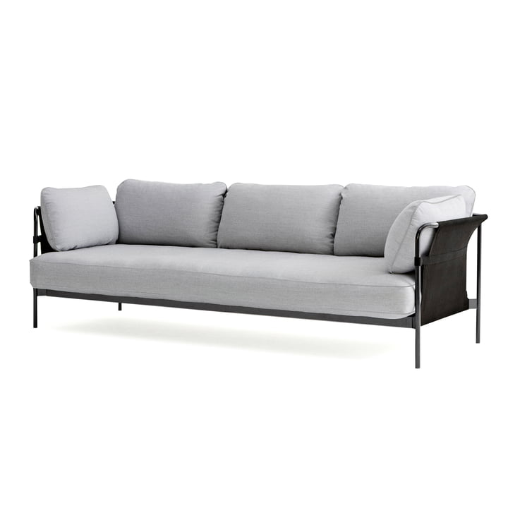 Can 2.0 Sofa 3-Sitzer von Hay in Chrom / Canvas grau / Surface 120 hellgrau