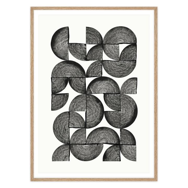 Artvoll - Circles No. 1 Poster mit Rahmen, Eiche natur
