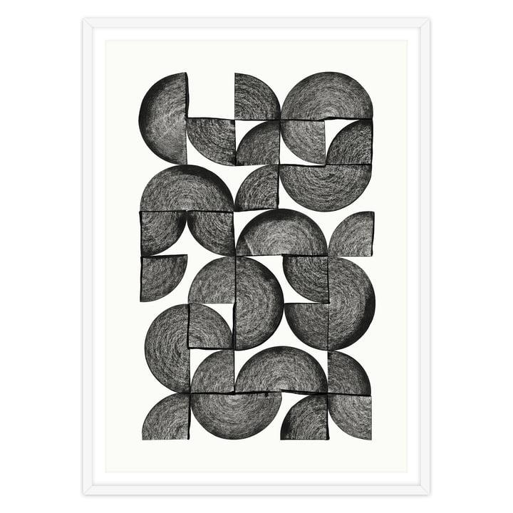 Artvoll - Circles No. 1 Poster mit Rahmen, weiß