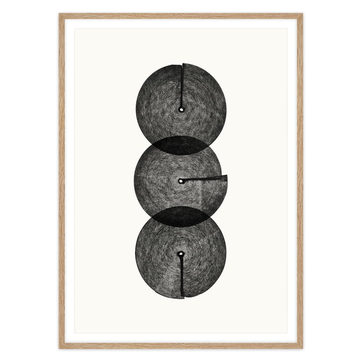 artvoll - Circles No. 3 Poster mit Rahmen, Eiche natur