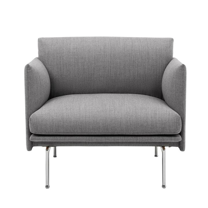 Outline Studio Sessel von Muuto in grau (fiord 151) / Aluminium poliert