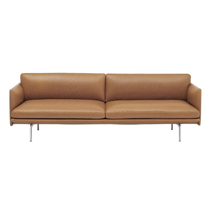 Outline Sofa 3-Sitzer von Muuto in cognac Refine Leather / Aluminium poliert