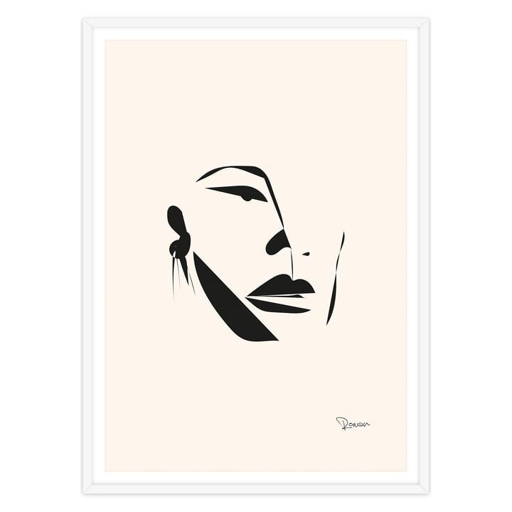 artvoll - Face Poster mit Rahmen, weiß