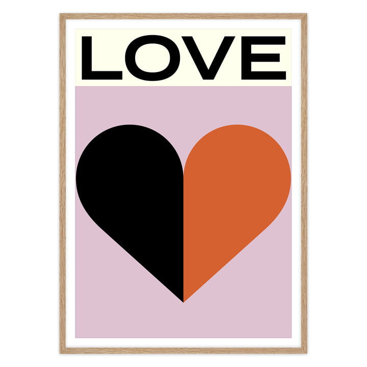 artvoll - Love Poster mit Rahmen, Eiche natur