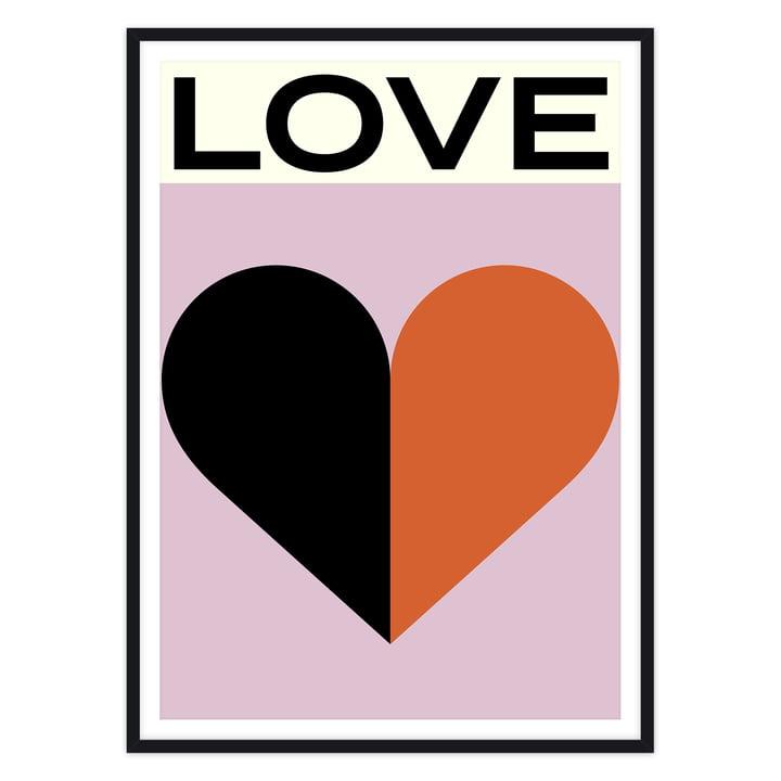 artvoll - Love Poster mit Rahmen, schwarz