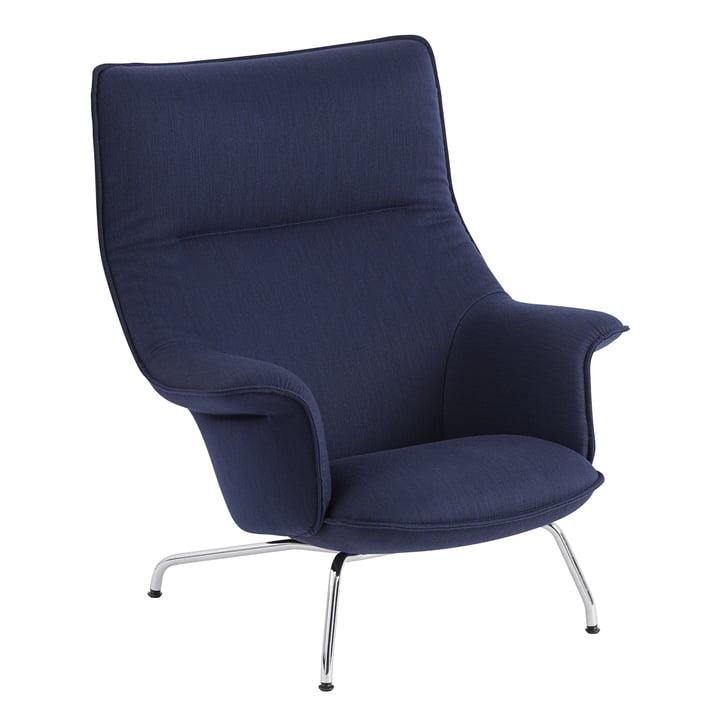 Doze Lounge Chair von Muuto mit Untergestell Chrom / Bezug dunkelblau (Balder 782)