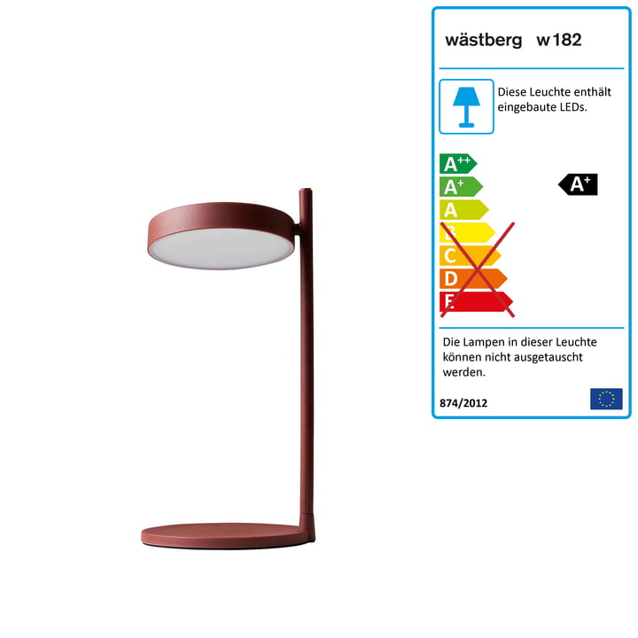 w182 Pastille LED Tischleuchte b2 von Wästberg in oxidrot