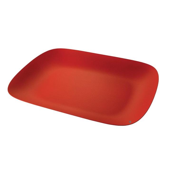 Moiré Tablett 45 x 34 cm von Alessi in rot mit Reliefdekor