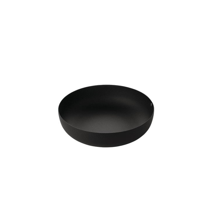 Schale Ø 24 x H 6 cm von Alessi in schwarz mit Reliefdekor