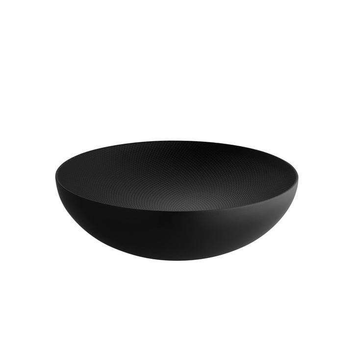 Doppelwandige Schale Ø 25 x H 7,3 cm von Alessi in schwarz mit Reliefdekor