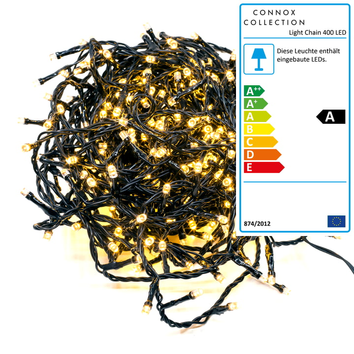 Connox Collection - Lichterkette Indoor / Outdoor (IP 44), 20 Meter, 400 Lichter, schwarz