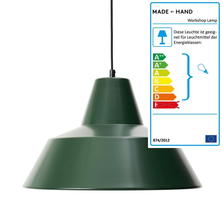 Workshop Lamp W4, racing green / schwarz von Made by Hand