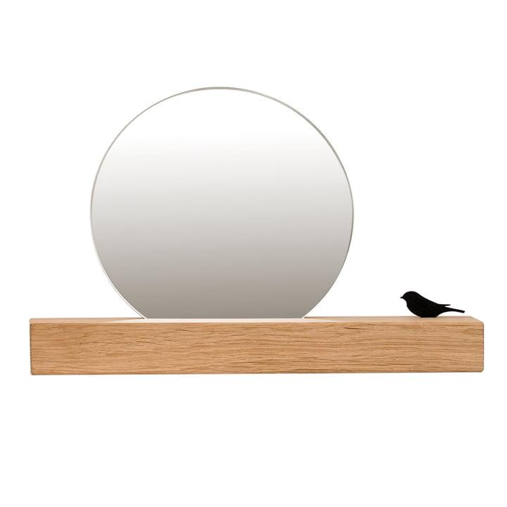 Spiegel mit Vogel Ø 25 cm, Eiche natur von Raumgestalt