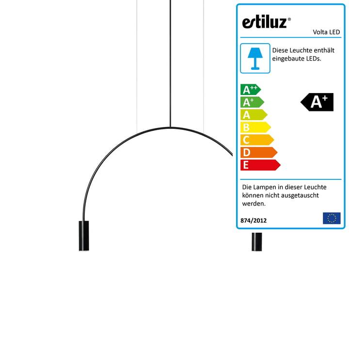 Volta LED Pendelleuchte 2700K von Estiluz in schwarz