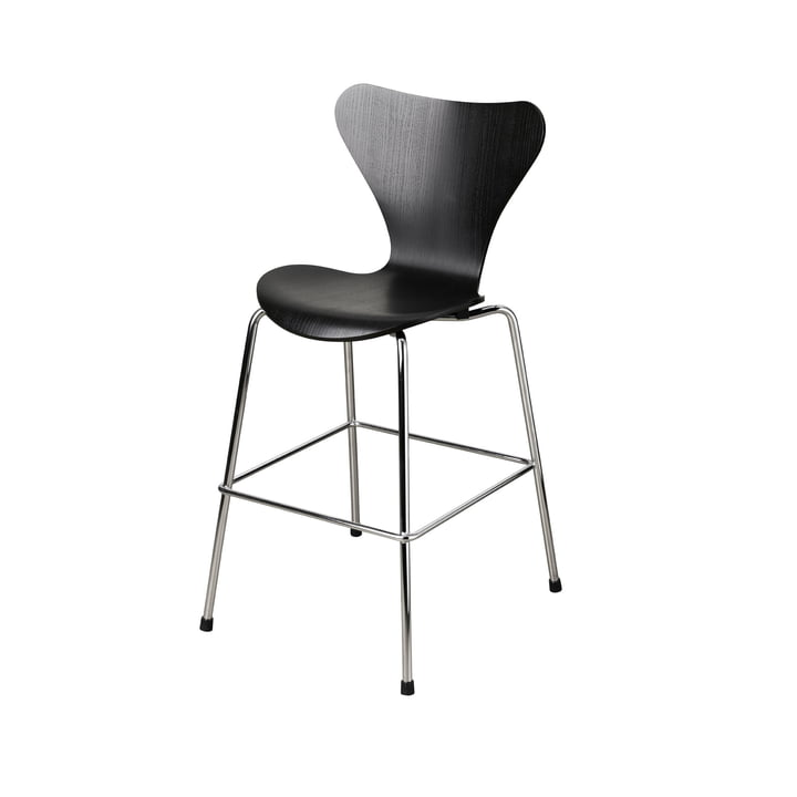 Serie 7 Junior Stuhl von Fritz Hansen in Chrom / schwarz