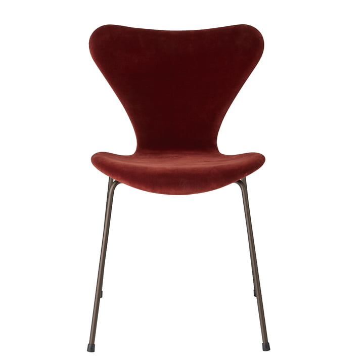 Serie 7 Velvet Edition Stuhl Vollpolsterung von Fritz Hansen in autumn red
