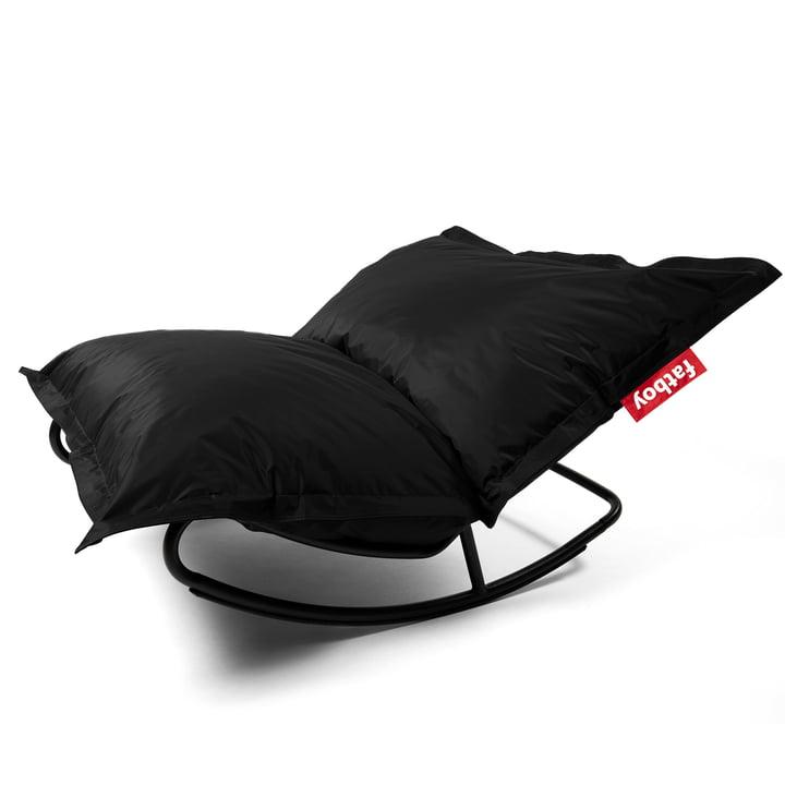 Rock 'n' Roll Lounge Chair mit Original Sitzsack von Fatboy in black (Kombi-Deal)