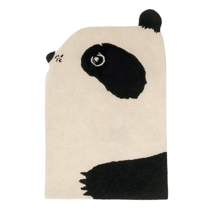 Tierteppich Panda 100 x 70 cm von EO Denmark in schwarz / beige