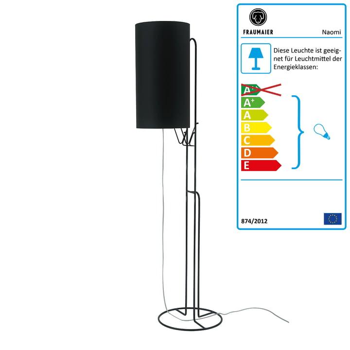 Naomi Stehleuchte LED-Dimmer von frauMaier in schwarz (RAL 9005)