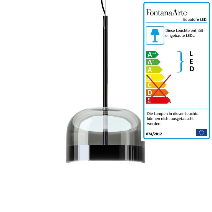 Equatore LED Pendelleuchte Ø 23,8 cm von FontanaArte in Chrom / schwarz