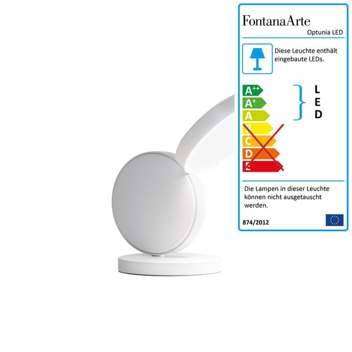 Optunia LED Tischleuchte H 24 cm von FontanaArte in weiß