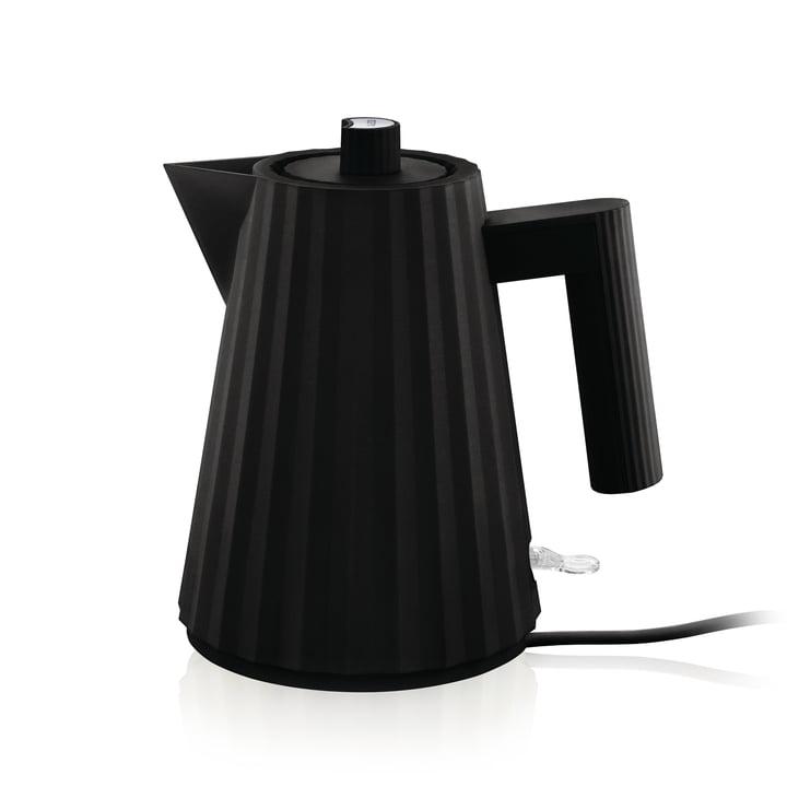 Plissé Wasserkocher 1 l von Alessi in schwarz
